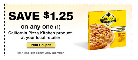 New $1.25 Off ANY California Pizza Kitchen Coupon Gallery