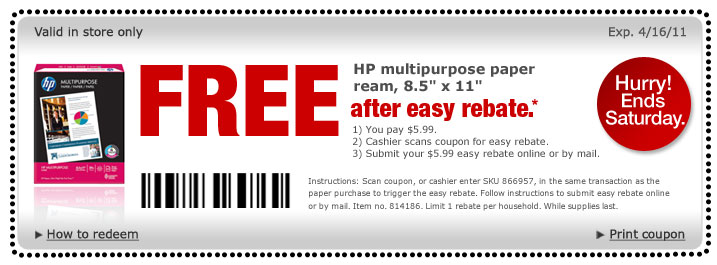 Coupon for more than paper