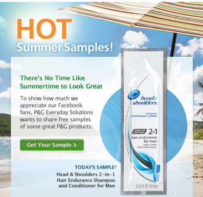 Free head and shoulders for men sample.