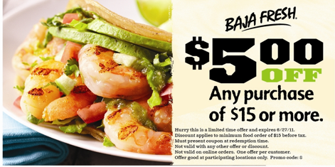 photograph regarding Baja Fresh Coupons Printable identified as Baja New: Fresh Discount coupons $2/$8 AND $5/$15!