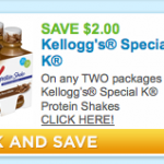 New $2.00 Off any TWO Packages of Kellogg's Special K Protein Shakes Coupon