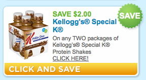 Screen shot 2011 08 04 at 1.44.53 PM New $2.00 Off any TWO Packages of Kelloggs Special K Protein Shakes Coupon