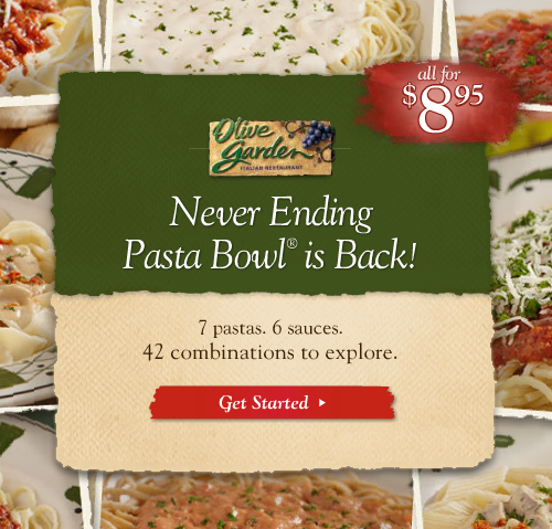 Olive Garden: Never Ending Pasta Bowl is Back $8.95!