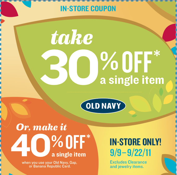 OLD NAVY 30 COUPON CODE