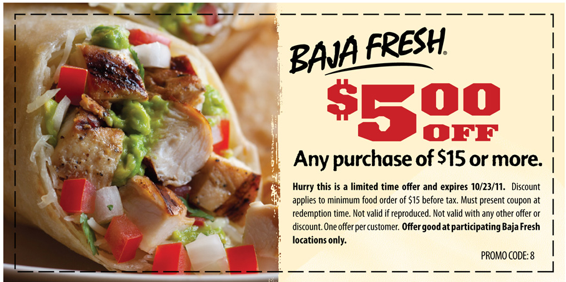 picture relating to Baja Fresh Coupons Printable identify Wonderful Offer! Baja Refreshing Discount coupons