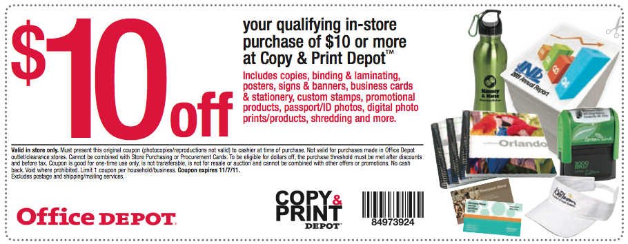Office depot 10 off a 10 copy print depot purchase coupon reheart Choice Image