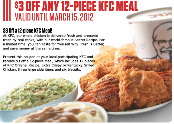 kfc 3 off any 12 piece meal coupon