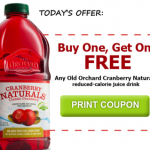Buy 1 Get 1 FREE any Old Orchard Cranberry Naturals Coupon