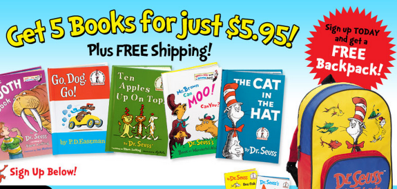 dr. seuss *HOT!* Dr. Seuss 5 Books + a Backpack Only $5.95 + FREE Shipping!