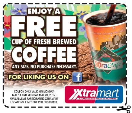 Screen shot 2012 05 14 at 8.49.28 AM Xtramart: FREE Cup of Fresh Brewed Coffee Coupon