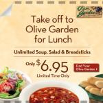 Olive Garden: Unlimited Soup, Salad and Breadsticks for $6.95!