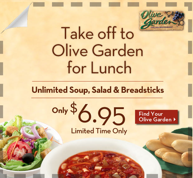 olive garden unlimited soup salad and breadsticks for 695 - Olive Garden Lunch Time