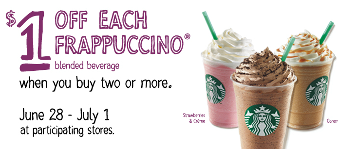 Screen shot 2012 06 28 at 12.53.49 PM Starbucks: $1 off EACH Frappuccino when you Buy 2!