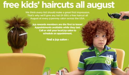 Screen shot 2012 07 13 at 9.29.42 AM *HOT* JcPenney: FREE Kids Haircuts ALL August!