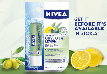 Screen shot 2012 07 23 at 9.35.13 AM FREE Nivea Olive Oil + Lemon Moisture Rich Lip Care (First 1,000!)