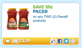 Screen shot 2012 07 24 at 7.18.30 AM New $0.50/2 Pace Products Coupon = Only $0.75 for a Salsa or Queso Jar!