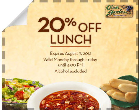 Screen shot 2012 07 30 at 1.15.07 PM Olive Garden: Rare 20% off Lunch Coupon!