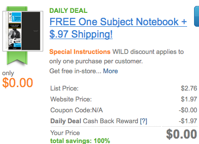 Screen shot 2012 07 30 at 8.43.17 AM *HOT* FREE Five Star Notebook Shipped (After Cash Back!)