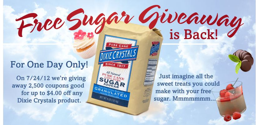 dixie FREE Dixie Crystals Sugar on July 24th (2,500 Winners)