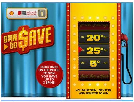 spin2save2 *HOT!* Spin to Save: Get a FULL Tank of Gas for $0.30!