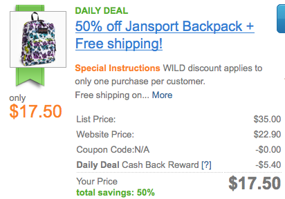 Screen shot 2012 08 03 at 11.09.50 AM Nordstrom: Jansport Backpack Only $17.50 + FREE Shipping (Reg. $35.00!)