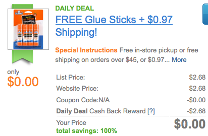 Screen shot 2012 08 07 at 8.31.45 AM *HOT* FREE Elmers Washable School Glue Sticks 4 pack Shipped (After Cash Back!)