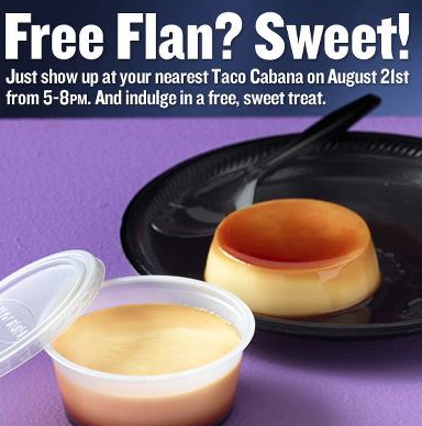 Screen shot 2012 08 21 at 12.57.31 PM Taco Cabana: FREE Flan Dessert! (5 8pm Today)