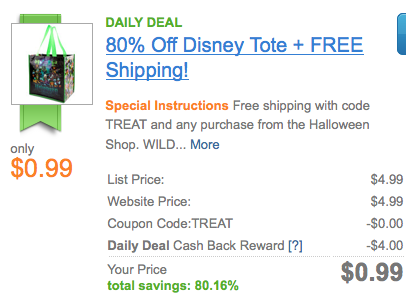Screen shot 2012 08 21 at 8.56.42 AM 2012 Resuable Halloween Mickey Mouse and Friends Tote $0.99 + FREE Shipping (Reg. $5!)