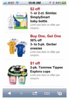 How do i get target baby mobile coupons