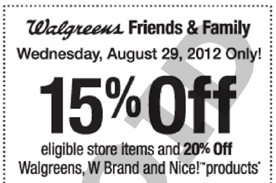 Screen shot 2012 08 24 at 5.36.09 PM Walgreens Friends & Family: 15% Off Coupon (8/29 Only)