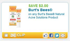 burts Rare: $2 off Burts Bees Acne Solutions Coupons