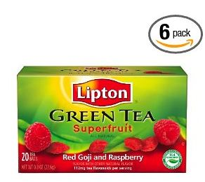 greentea Amazon: Lipton Green Tea Bags Super Red Berry Goji, 20 Count Boxes (6 packs) $8.10 Shipped