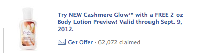 Screen shot 2012 09 07 at 8.46.04 AM Bath & Body Works: FREE Cashmere Glow 2 oz Body Lotion (No Purchase Necessary)!