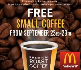 Screen shot 2012 09 27 at 7.26.23 PM McDonalds: FREE Small Premium Roast McCafé Coffee (No Purchase Necessary)