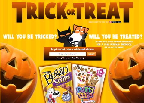 Screen shot 2012 10 04 at 10.39.33 AM Purina Halloween Trick or Treat Instant Win Game = FREE Product Coupon (I WON!) 25,000 Winners!
