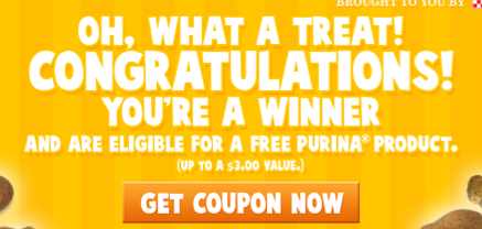 Screen shot 2012 10 04 at 10.42.19 AM Purina Halloween Trick or Treat Instant Win Game = FREE Product Coupon (I WON!) 25,000 Winners!