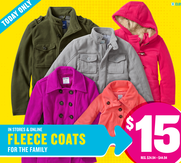Screen shot 2012 10 06 at 10.42.17 AM *HOT* Old Navy: Fleece Coats Only $15 Today Only (Reg. up to $44.94!)
