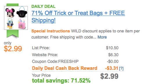 Screen shot 2012 10 08 at 9.22.01 AM Disney: Trick or Treat Bags Only $2.99 + FREE Shipping (Different Characters!)