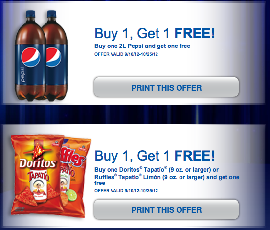 Screen shot 2012 10 21 at 9.30.46 AM *HOT* Buy 1 Get 1 FREE Pepsi Coupon AND Buy 1 Get 1 FREE Doritos/Ruffles ($4.29 Value!)