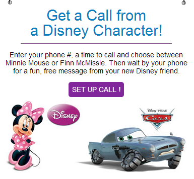 disneycall Get a free phone call from your childs favorite Disney character