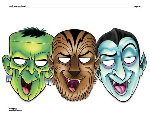 halloweenmasks Free Frankenstein, Dracula, and Werewolf Halloween Masks