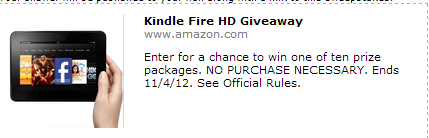 kindlefire Enter to win a Kindle Fire HD on Amazon