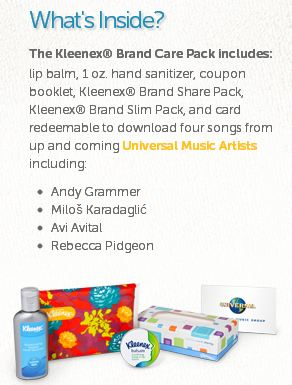 kleenex2 FREE Care Pack from Kleenex (code reqd)