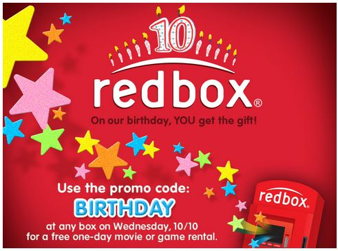 redbox FREE Red Box Rental to Celebrate their Birthday!