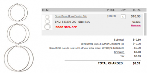 image about Torrid Printable Coupons identified as Rating Earrings for simply $.50/delivered versus !