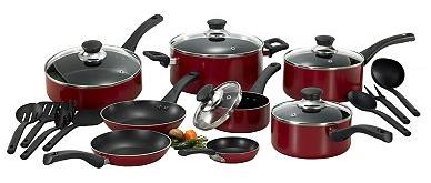 T-Fal Inspirations Red 20-pc. Nonstick Aluminum Cookware Set