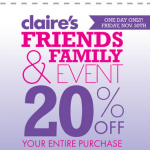 Claire's: 20% off Entire Purchase Coupon!