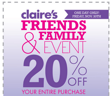claires Claires: 20% off Entire Purchase Coupon!