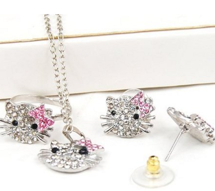 hello kitty Hello Kitty Rhinestone Jewelry Set for just $2.59 shipped!