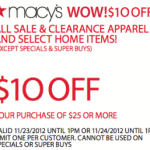 Macy's WOW Pass Save $10 off $25!